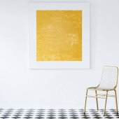 Elegant golden chair and floor lamp in a luxurious living room interior with a modern abstract painting on an empty white wall